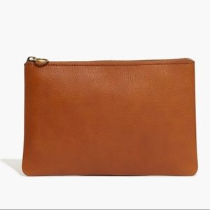 Madewell Leather Pouch Clutch - Mustard Yellow